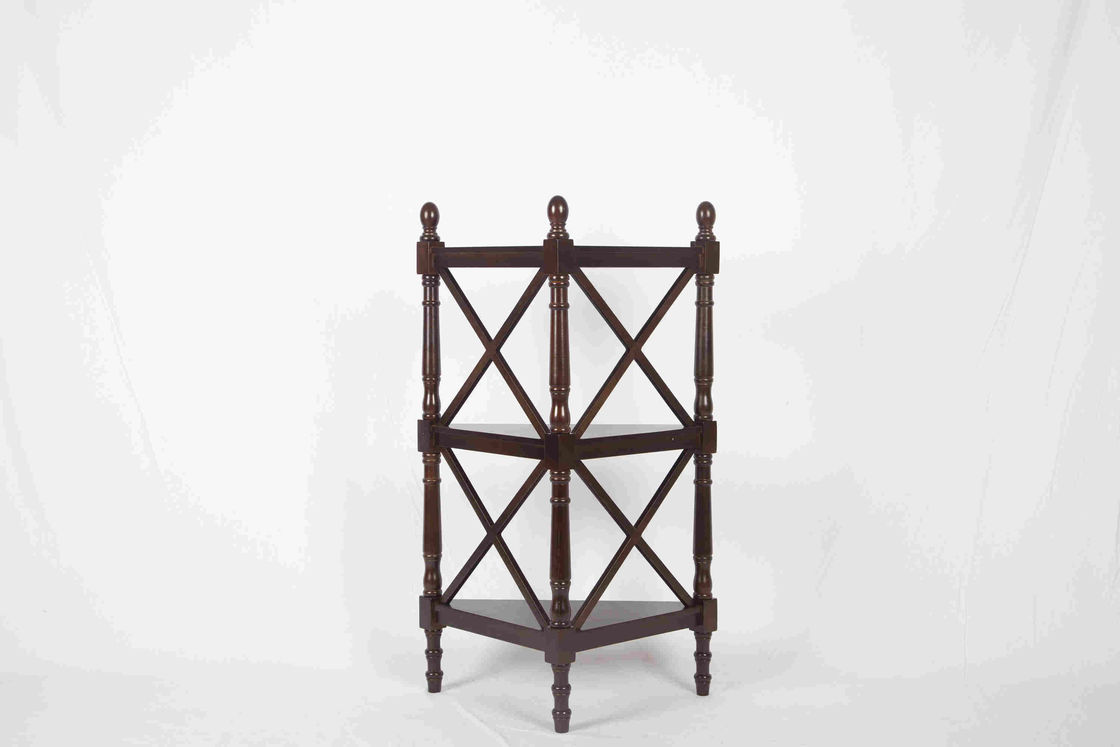 3 Tier Corner Shelf Modern Wood Furniture Multi Purpose With X - Pattern Frame